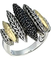 John Hardy - Classic Chain Hammered Spear Ring with Black Sapphire and Black Spinel