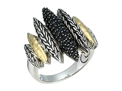 John Hardy Classic Chain Hammered Spear Ring with Black Sapphire and Black Spinel (Sterling Silver) Ring