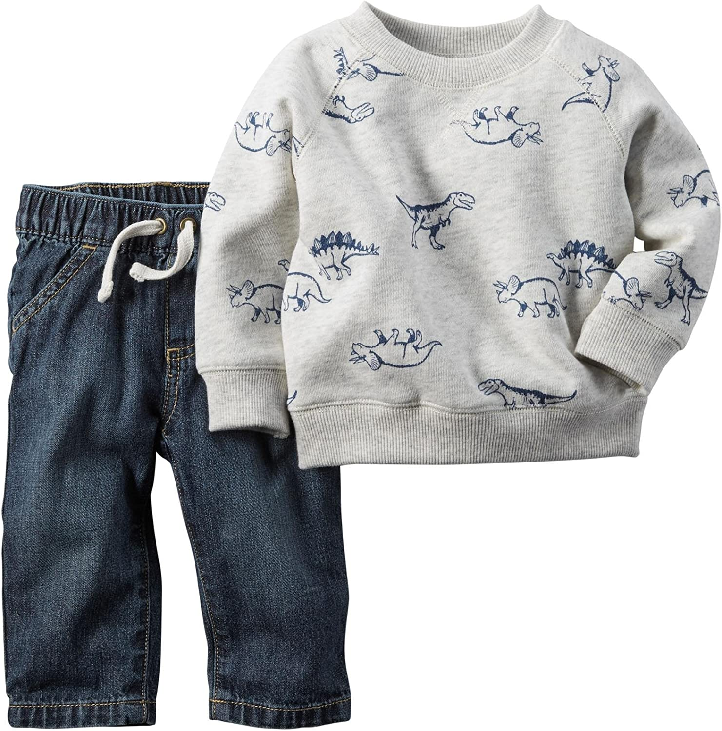Carter's baby-boys Boy Collection 2pc Dino Top With Faux Denim