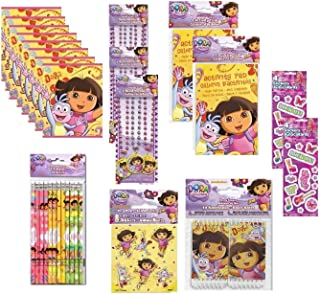 Dora The Explorer Birthday Party Favor Pack for 8 Includes Loot Bags, Necklaces, Activity Pads, Notebooks, Stickers - Total 66 Pieces