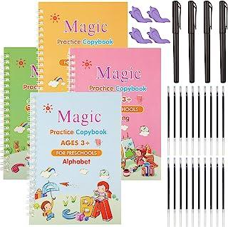 4 Pieces English Magic Practice Copybook Kids Reusable Calligraphy Copybook Handwriting Workbook for Preschoolers Tracing ...