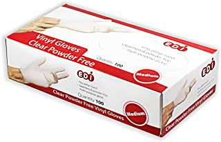 EDI Clear Powder Free Vinyl Glove,4.3 mil,Disposable Glove,Industrial Glove,Clear, Latex Free and Allergy Free, Plastic, W...