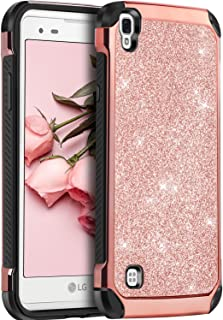 LG Tribute HD Case, LG X Style Case, LG Volt 3 Case,BENTOBEN Glitter Bling Slim Hybrid Soft Rubber Hard Cover Sparkly PU Leather Protective Phone Case for LG Tribute HD/X Style/Volt 3/LS676,Rose Gold