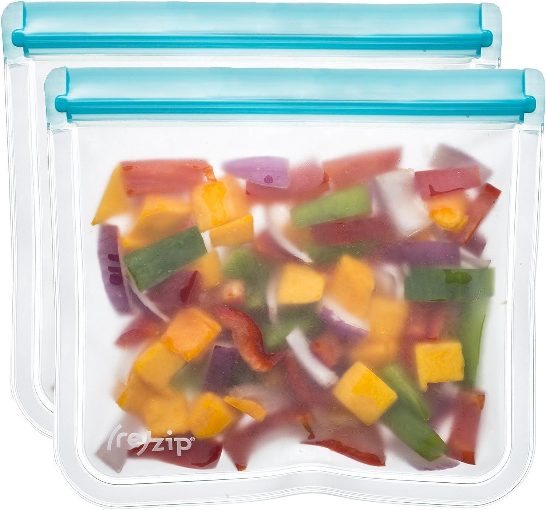 rezip Lay-Flat Lunch Leakproof Reusable Storage Bag 2-Pack (Aqua)