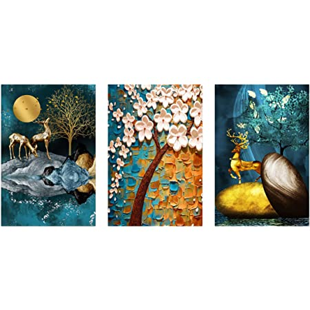 ZANKHI Art Set of 3 3D Deer with Tree Wall Painting 6013 MDF Framed Painting for Home Decoration (3D Unique, 12 inch x 18 inch,Each Frame Size Set of 3)