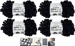 Bernat Alize EZ Blanket Yarn Bundle 100% Polyester 4 -Pack Black Plus 4 Patterns