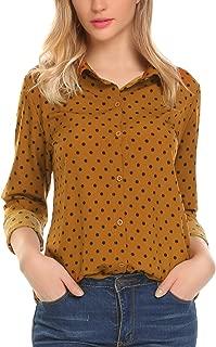 Women's Button Down Shirts Long Sleeve Polka Dot Blouse Top