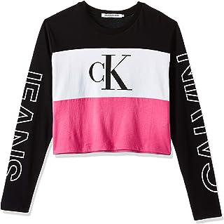 Calvin Klein Jeans Women's CKJ Blocking Statement L VGY PUR WMN TEE, Raspberry Sorbet, M