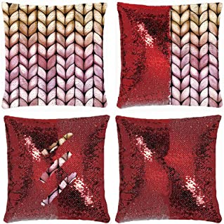 Huayuanhurug Chunky Raspberry Caramel Knit Throw Pillow Cover Magic Reversible Sequin Cushion Cover Decorative Pillowcase That Change Color 18