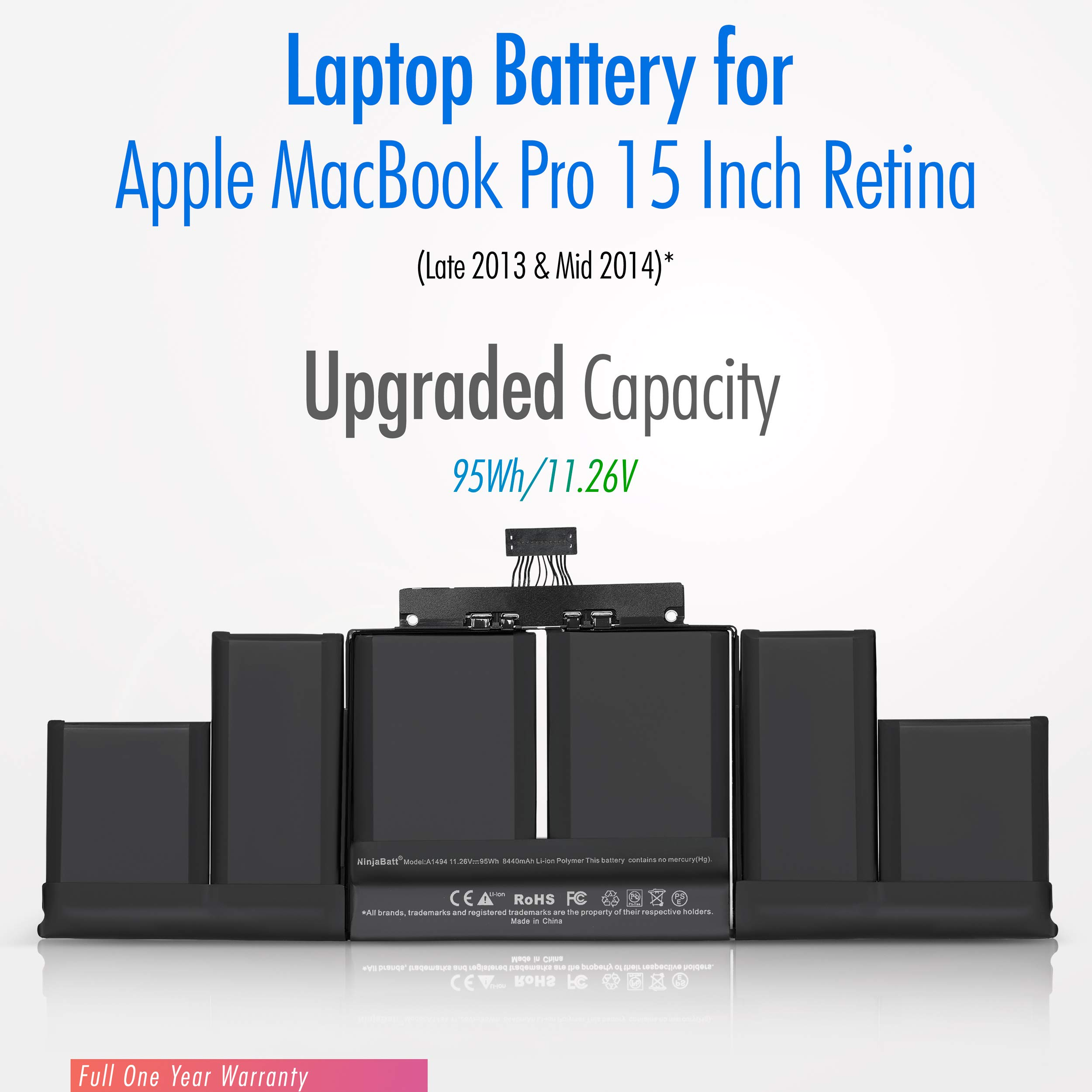Fit for MacBookPro 11,2-11,5 2013 2014 2015 MacBook pro Battery A1398 Puredick A1494 A1398 Battery for MacBook Pro Battery 15 inch Retina Mid 2015 2014 Late 2013 Not for A1398 Early 2013