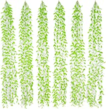 Linkhome 6Pcs Artificial Vines Fake Greenery Garland Willow Leaves Total 30 Stems Hanging for Wedding Party Home Garden Wall Decoration