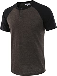 Men's Casual Short Sleeve Raglan Henley T-Shirts Baseball Shirts Tee