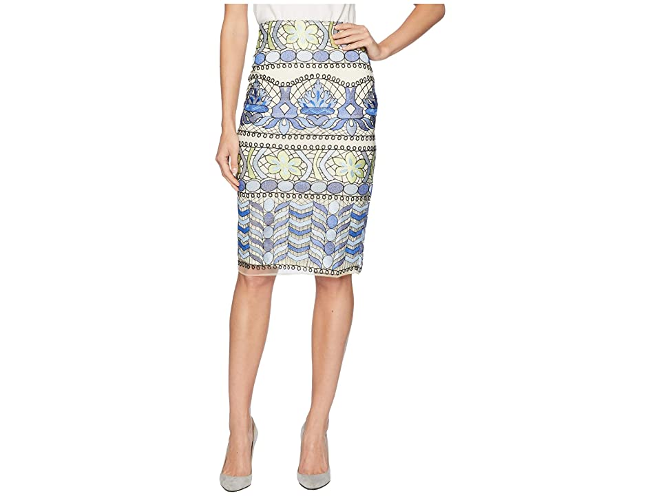 eci Floral Print Obsessed Midi Skirt (Blue) Women