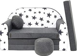 Pro Cosmo Canapé lit avec Pouf pour Enfants AC1 - Gris - Etoiles - 168 x 98 x 60 cm