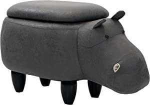 "Critter Sitters 15"" Seat Height Dark Gray Hippo Storage Ottoman"