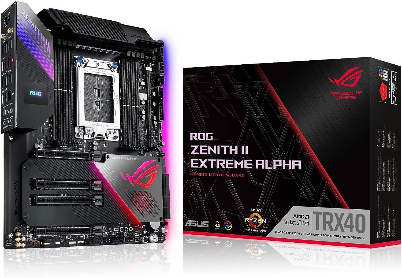 ASUS ROG Zenith II Extreme Alpha - Placa Base Gaming AMD E-ATX sTRX4 3a Generación Ryzen Threadripper con 16 etapas de Potencia, Wi-Fi 6, 10 Gbps LAN, USB 3.2 Gen2x2, Cinco M.2, SATA y Aura Sync RGB