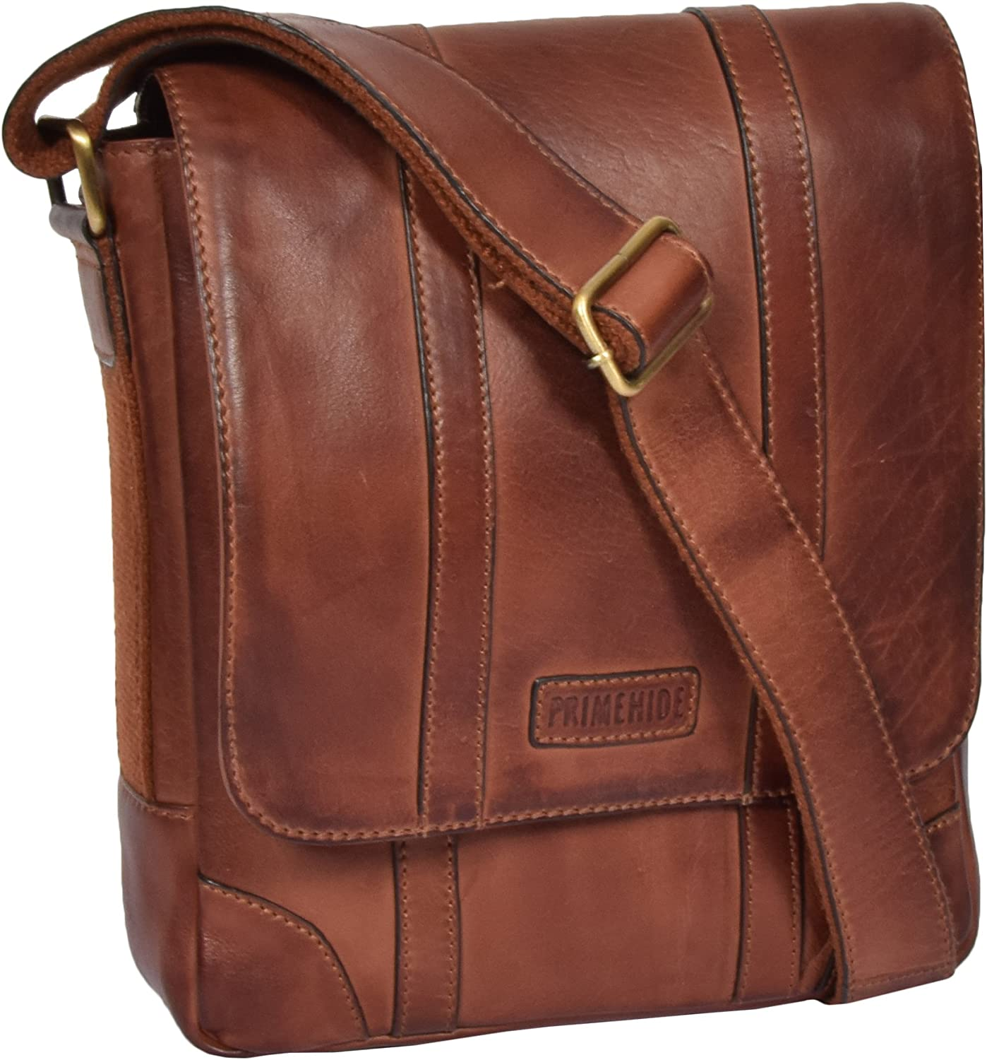 A1 FASHION GOODS Mens Real Leather Two Tone Designer Cross Body Vintage Tan Casual Flight Bag Oia