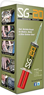 Adhesive Repair Kit for Waders, Boots, and Outdoor Gear (20cc) w/ Plunger and 3 Contouring Tips