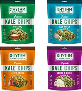 Rhythm Superfoods Kale Chips, Variety Pack, Original/Zesty Nacho/Kool Ranch/Garlic & Onion, Organic and Non-GMO, 2 Ounce (Pack of 4), Vegan/Gluten-Free Superfood Snacks, Packaging May Vary