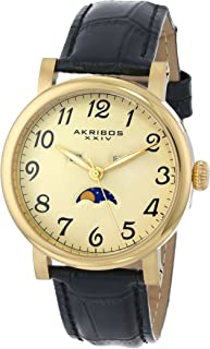 Akribos XXIV Men's Date Moon phase Watch - Luminous Hands - Embossed Alligator Pattern Leather Strap