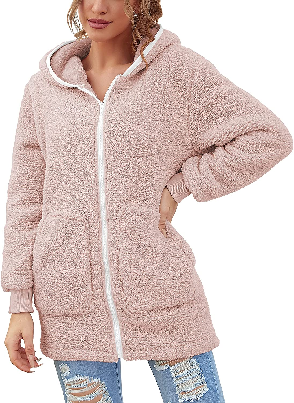 Women Sherpa Hoodie Fuzzy Fleece Zip Up Jacket Cardigan Long Sle