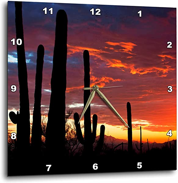 3D Rose Sunset In The Sonoran Desert Saguaro West NP Tucson Arizona Wall Clock 15 X 15