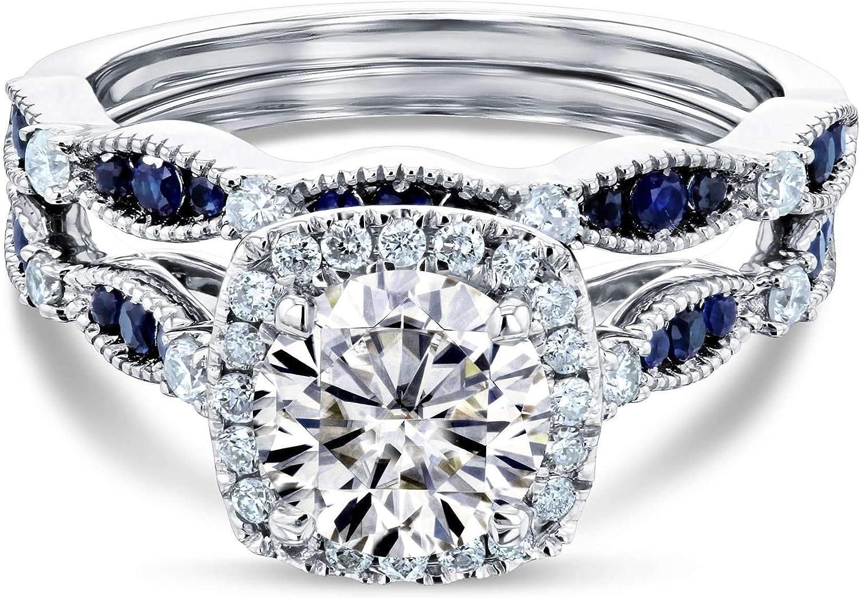 通販 激安 Kobelli Round Moissanite and Blue HI Set Sapphire VS 再再販 Bridal
