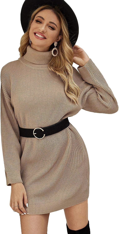 Floerns Women's Turtleneck Cream Grid Long Sleeve Sweater Pullover Short Dress