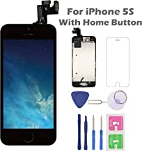 for iPhone 5S Screen Replacement with Home Button, Arotech 4.0 Inch Full Assembly LCD Display Digitizer Touch Screen with Repair Tool Kit and Tempered Glass (i5S Black)
