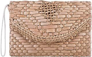 Straw Evening Clutch Bag Boho Woven Rattan Envelope Handbag Bridesmaid Purses for Women Khaki