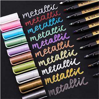Sunshilor Metallic Marker Pen for Rock Painting - Medium Point, Metallic Color Pens Paint Markers for Black Paper, Ceramic...