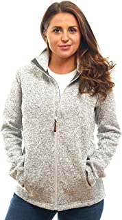 Womens Unique Knit Sweater Speckled Zip Up Fleece Jacket, All Season Heather Cardigan