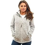 Womens Unique Knit Sweater Speckled Zip Up Fleece Jacket, All Season Heather Cardigan