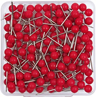 AnMiao Star 1/8 Inch Map Tacks, Push Pins, Plastic Round Head, Steel Point, Red Colors, 100-Count