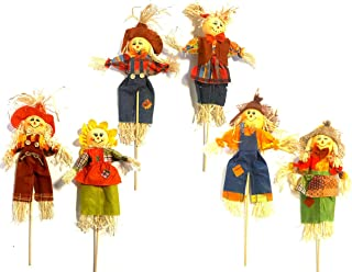 BlackLabel Direct Fall Scarecrow with Stake Yard Decor, Indoor/Outdoor Halloween and Thanksgiving Decorations - Set of 4-17 Inches