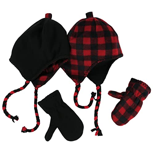 NIce Caps Little Kids and Baby Reversible Hat and Mittens Fleece Skater Set