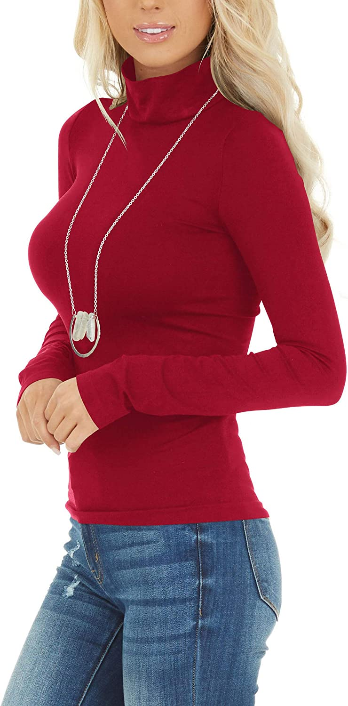 Womens Long Sleeve Turtleneck Tops Soft Lightweight Pullover Basic Layer Tee Top