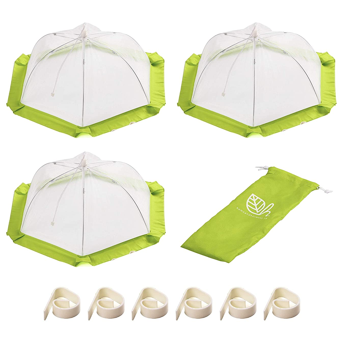 Mesh Food Covers that Won't Blow Away (3 Pack) | Large Food Covers for Outdoors and Indoors | Food Covers from Flies | Food Tent for Parties | Food Cover Wind Resistant Clip | Home and Harmony Inc.