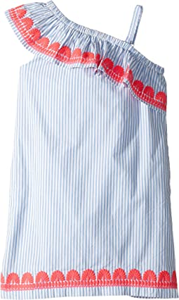 Stripe Embroidered One Shoulder Dress (Toddler/Little Kids/Big Kids)