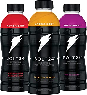 BOLT24, Hydration with Antioxidants and Electrolytes, 3 Flavor Variety Pack, 16.9oz Bottles (Pack of 12)