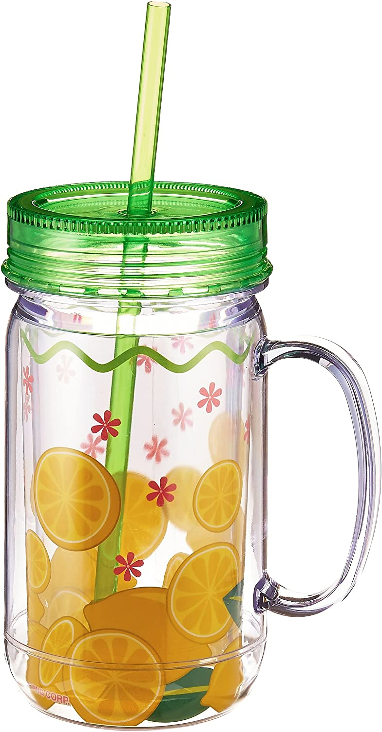 Boston Warehouse Mason Jar with Lemons Design, 26-Ounce by Boston Warehouse