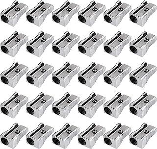 Frienda 48 Pack Metal Mini Pencil Sharpeners Silver Single Hole Aluminum Alloy Handheld Sharpener Manual Pencil Sharpeners for Standard Size Pencils