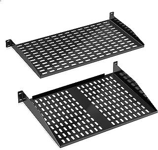 2U Server Rack Shelf - Universal Device Server Rack Mounting Tray (Pair) - Pyle PLRSTN62U