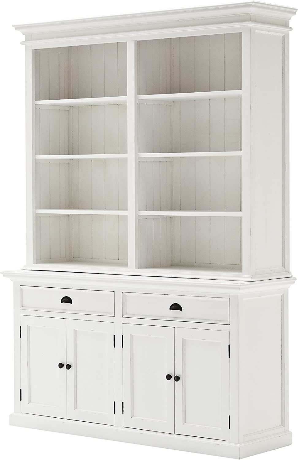 NovaSolo Halifax Pure White Mahogany With Selling rankings Bookcase St Wood shipfree Hutch