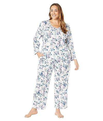 Karen Neuburger Plus Size Last Waltz Long Sleeve Pullover PJ (Floral Ivory) Women