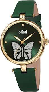 Burgi Designer Women's Watch – Pretty Butterfly Glitter Dial, Satin Over Genuine Leather Strap, 3 Diamond Markers, Polished Bezel - BUR233