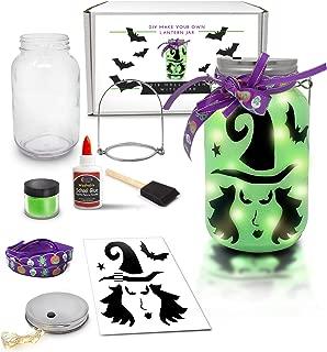 Mason Jar Lantern Craft Kit - DIY Make Your Own Lantern Jar - Craft Project for Kids - Great Gift (Halloween(Witch))