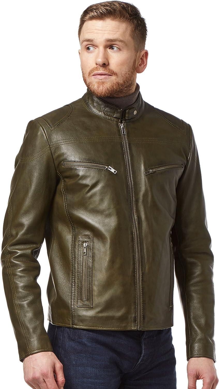 Smart Range Speed Men's Real Leather Jacket Olive Green Washed Biker Motorcycle Style SR-02