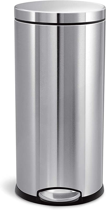 Simplehuman 30 Liter 8 Gallon Round Step Trash Can Brushed Stainless Steel