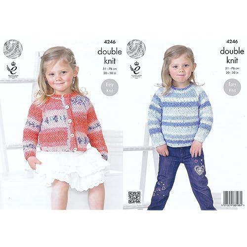 abe9aeb06d09d King Cole Splash DK Double Knitting Pattern Childrens Girls Round Neck  Cardigan   Sweater (4246